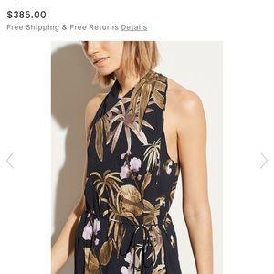 Vince Tropical Garden Satin Dress Size Large